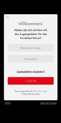Login-Screen TV-App