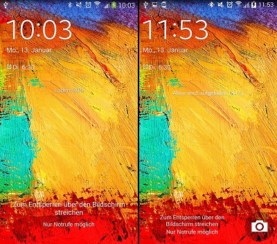 The camera launcher is present on the right lockscreen. (Both screenshots are from a SM-N9005)
