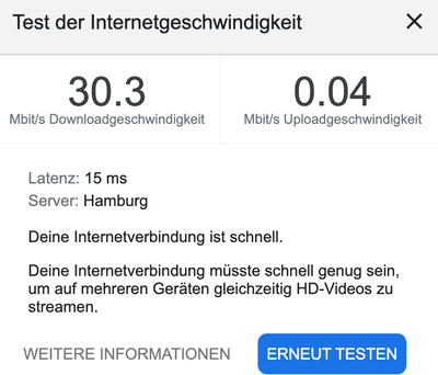 Google Speedtest heute Morgen