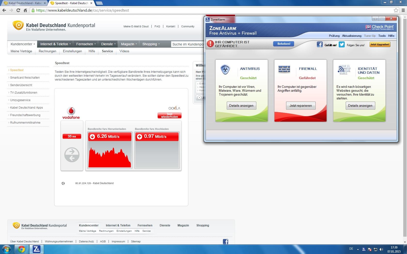 Vodafone Bandbreite