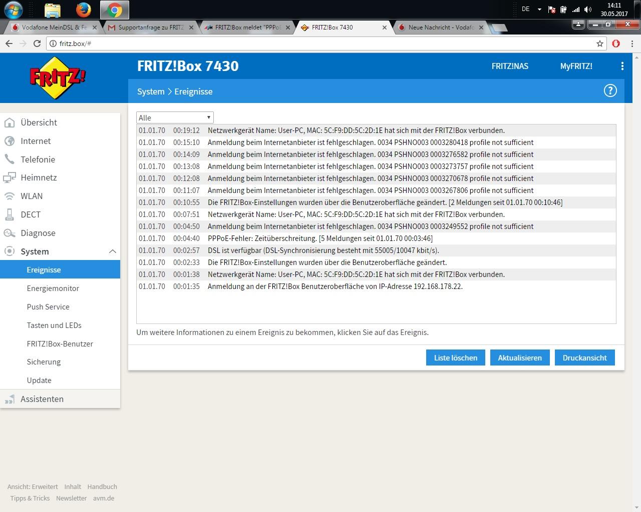 FB 20 Anmeldung beim Internetanbieter ist fehlge...   Vodafone ...