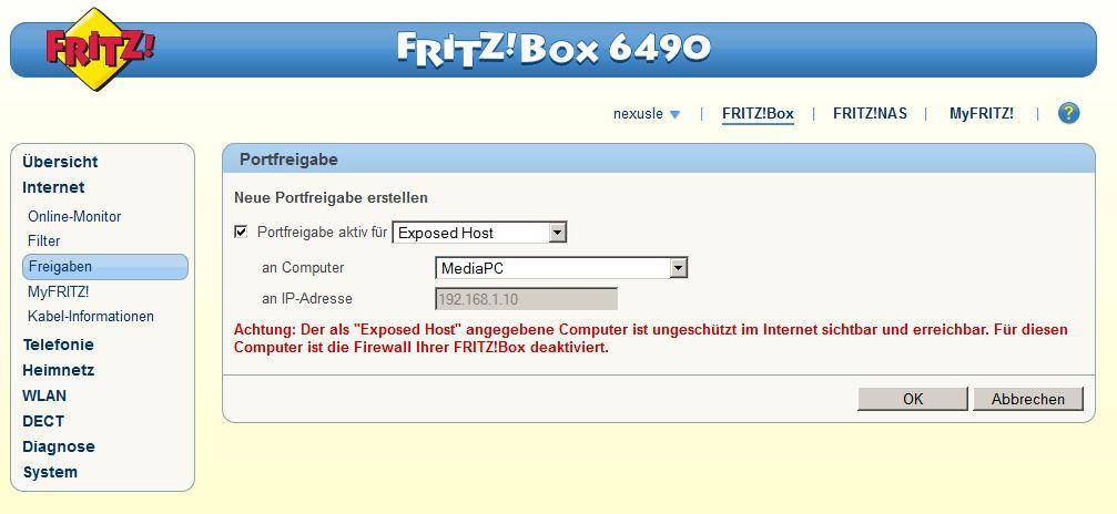 fritzbox 6490 cable einrichten